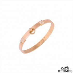 Hermès Rose Gold Diamond Collier De Chien Bracelet